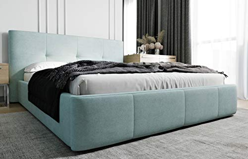 MG Home Polsterbett Bettkasten Lattenroste Doppelbett 4 Größen Venti Pastell Blau (Pastell Blau, 180 x 200 cm)
