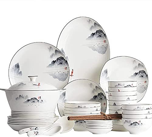 VBARV Juego de vajilla de Porcelana de Hueso, Juegos de Platos y Cuencos de cerámica Fina de 60 Piezas, vajilla de Porcelana, Juego de vajilla para Cocina/Comedor, Servicio para 12