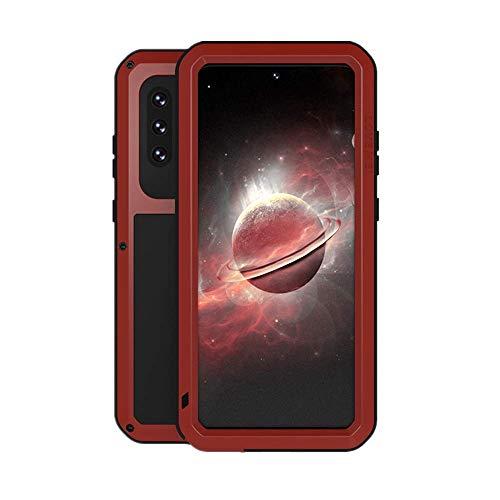 LOVE MEI Funda para Samsung Galaxy A72, Heavy Duty al Aire Libre de Armadura Metal Estuche Protectora Carcasa Antigolpes Impermeable a Prueba de Polvo Cubierta con Vidrio Templado (Rojo)