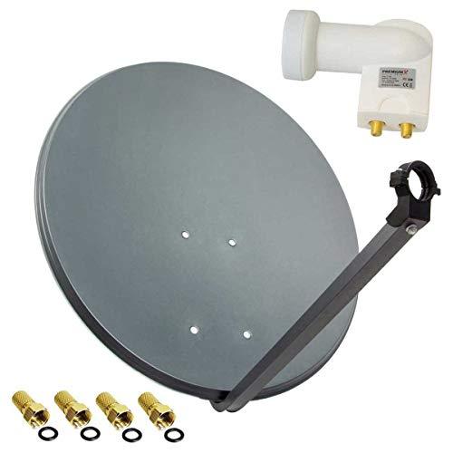PremiumX SAT Anlage 80cm Sat Antenne Anthrazit Satellitenschüssel TV Schüssel Satellitenantenne Twin LNB 2 TN 4 Stecker