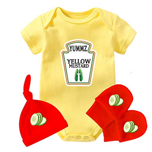AOUYOA Bebé Twins Body Regalo Ropa Niño Yummz Ketchup Mostaza Bebé Ducha Conjunto Bebé Twins Trajes