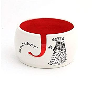 Handmade Yarn Bowl Extermiknit Doctor Who Ceramic LennyMud by Lorrie Veasey