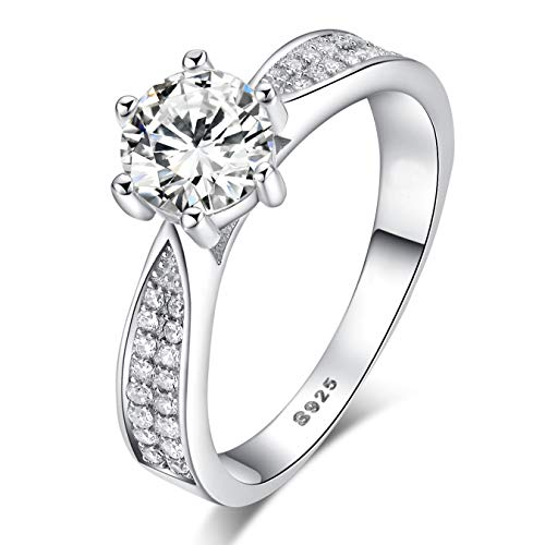 Sreema London 925 Sterling Silver Brilliant Round Cut Crystals Solitaire Promise Forever Eternity Engagement Wedding Rings for Women, Teenage Girls, Size UK with Gift Box, for Lovers (R)
