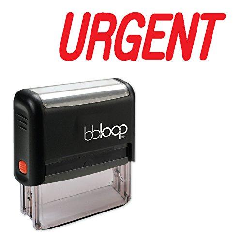 "BBloop Stamp""Urgent"" Rectangular. Laser Engraved. RED"
