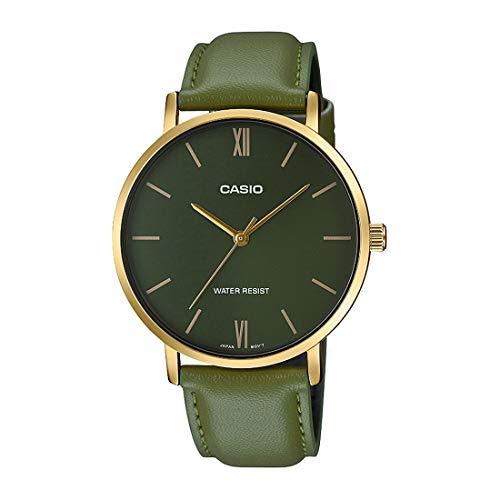 Casio MTP-VT01GL-3B - Reloj analógico de 3 manecillas para hombre, minimalista, tono dorado, correa de piel verde, esfera verde