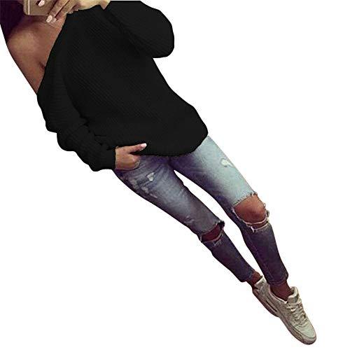 HROIJSL Frauen Lose Pullover-Strickjacke Lange Hülsen gestrickte beiläufige Bluse Einfarbiges Langarm Strickoberteil mit Pullover Kragen Damen Shirt Transparent Tüll Mesh Casuales Hoodie