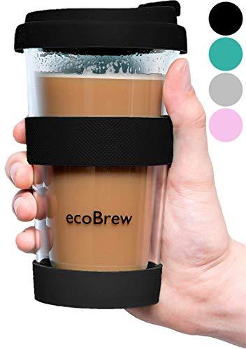 Glas Kaffeebecher To Go | Doppelwandig Isolierung Kaffeetasse | 340 ml, Auslaufsicherer Travel Mug mit Deckel | Coffee Becher für zu Hause, Büro oder Auto | Schwarz