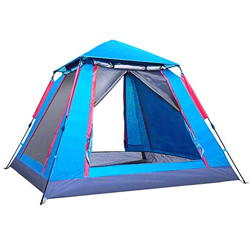 RJJBYY 3-4 Person Automatic Pop up Camping Tent, Double Layer Large Space Family Tents, Windows and Doors on Both Sides Water-Resistant and UV Protection Sun