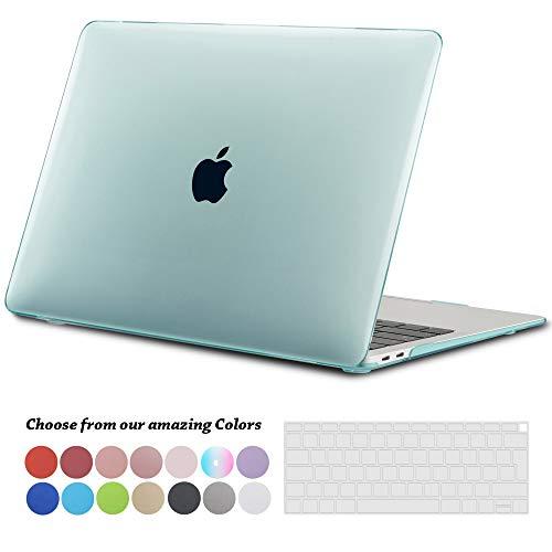TECOOL Funda para 2018 2019 MacBook Air 13 Pulgadas A1932, Cubierta de Plástico Dura Case Carcasa con Tapa del Teclado para Nuevo MacBook Air 13 con Retina Pantalla y Touch ID - Cristal Verde