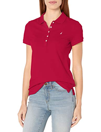 Nautica Women s 5-Button Short Sleeve Breathable 100% Cotton Polo Shirt, Red, Large