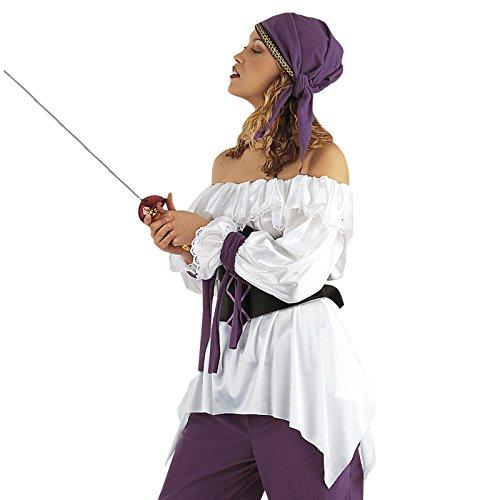 Piratin Bluse Carmenbluse mit Spitze perfekt für Piraten Kostüm - S