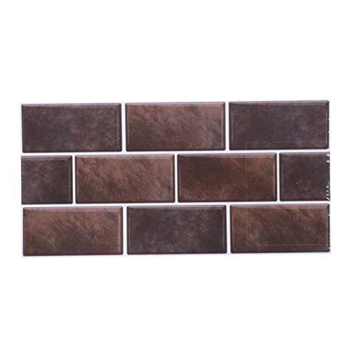 Fudax Adhesivo para Azulejos, Hermoso y práctico, 2 Juegos de Adhesivo para Azulejos, Adhesivo para Pared, para Sala de Estar, Dormitorio(FG01 Mocha Brown)