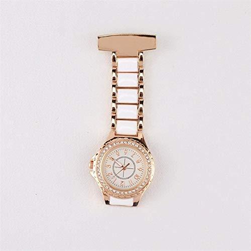 Cxypeng Taschenuhr für Krankenschwestern,Krankenschwester medizinische Uhr, Stahlband Quarz Wanduhr goldene Taschenuhr-Rose Gold,Pulsuhr Krankenschwester