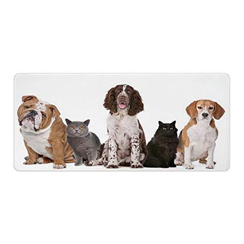 Alfombrilla de ratón para escritorio y portátil, diseño de gatos y perros, 1 unidad, 900 x 400 x 3 mm