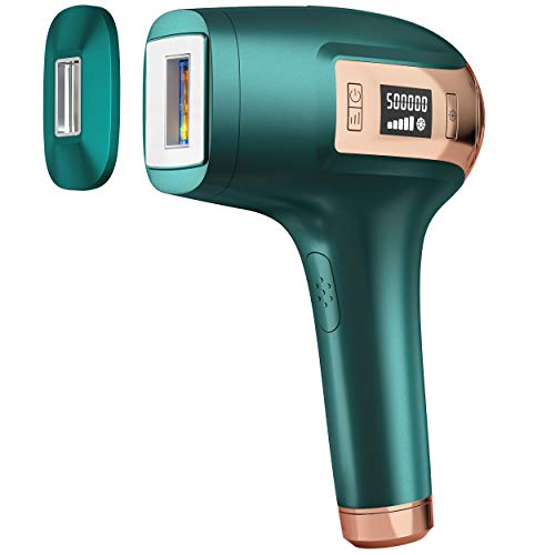 IPL Permanent Laser Hair Removal Device, S.V.G.E.V Painless Epilation for Women & Men, Home Use Hair Remover for Facial Whole Body - 500,000 Flashes, ICE Cooling System, 2 Size Lamp Caps (Emerald)