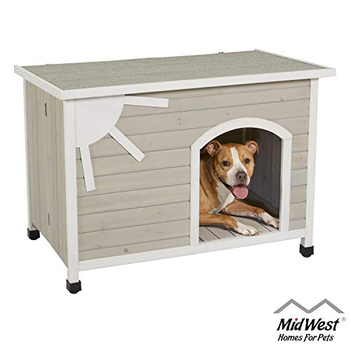MidWest Homes for Pets Eillo Folding Outdoor Wood Dog House, No Tools Required...