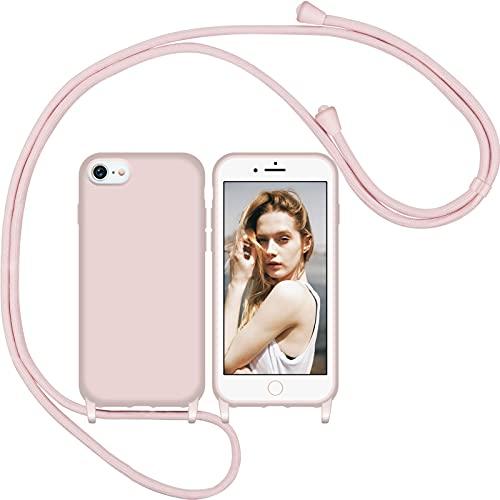 Nupcknn Funda Silicona Líquida con Cuerda para iPhone 7/8/iPhone SE 2020, Carcasa Suave Silicona Case con Correa Colgante Ajustable Collar Correa de Cuello Cadena Cordón(Oro Rosa)