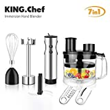 KING.Chef Immersion Blender, 6-in-1 Multifunctional 12-speed Turbo Stick Blender Stainless Steel...