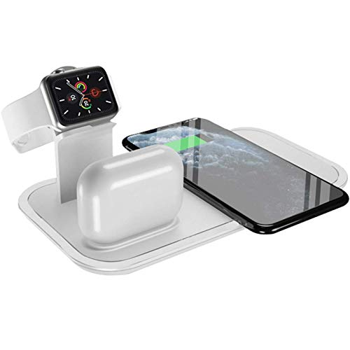 LTLJX Cargador Inalambrico Plus, 10W Cargador Carga Rapida, Wireless Charger para iPhone 12/11 Pro/XS/X/SE/iWatch 6/5/4/3/ Cargador Airpods,Blanco