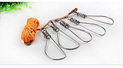 【チヌ、シーバスなどさまざまな魚に対応】 頑強 ステンレス ストリンガーセット 5個セット ロープ 4.5M 付き ...