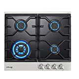 GASLAND Chef 24'' Built-in Gas Cooktops, 4 Burner Drop-in Propane/Natural Gas Cooker, 24 Inch Black Tempered Glass Gas Stove Top
