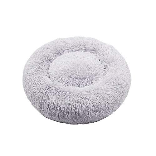Kalmerende Bed Plush Wasbaar Long Plush Dog Kennel Cat House Cotton Mats Super Soft Sofa For Hondenmand Warm Slapen Bed Dog Tag (Color : White, Size : 60cm)