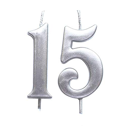 MAGJUCHE Silver 15th Birthday Numeral Candle, Number 15 Cake Topper Candles Party Decoration for Girl Or Boy