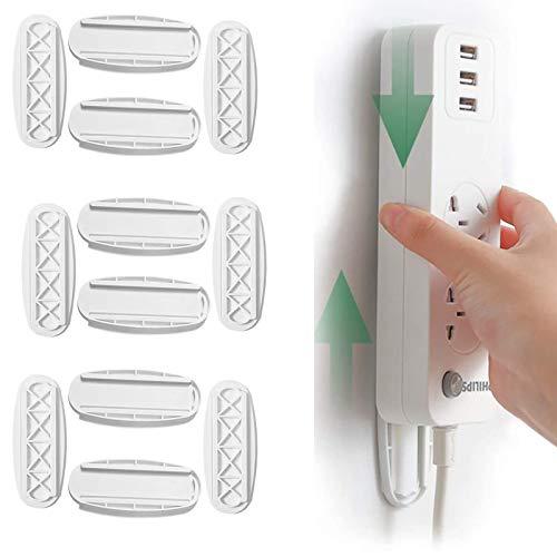 6 PCS soportes autoadhesivos para tiras de poder, Power Strip Holder,Gancho de Pared Autoadhesivo para Tablero de Energía para Enrutador WiFi, Control Remoto y Caja de Pañuelos
