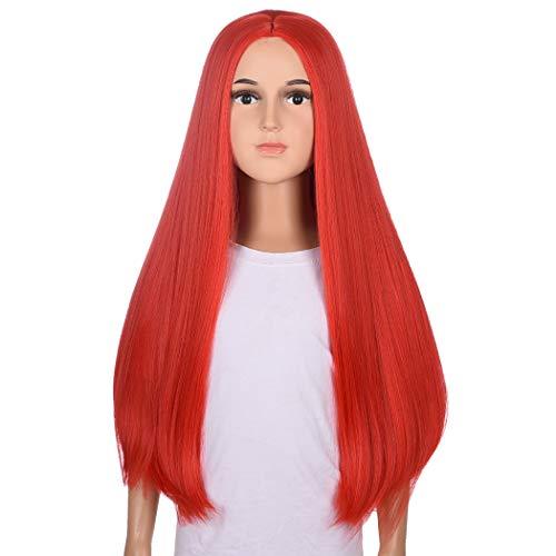 TANTAKO® Peluca Larga Recta Roja Para Niños - Disfraz De Halloween Para Niños Pelucas Rojas Pelucas Sintéticas Para Disfraces (Rojo # 0321)