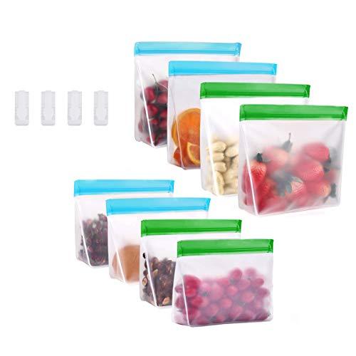 JUSONEY 8 Packs Aufstehen Mehrweg-Frischhaltetütchenset - Flüssiges Sandwich Snack Speck Obstbeutel, Gefrierschrank Luftdichter Verschluss, Ideal zum Einkochen | FDA & BPA genehmigt