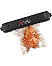 Aitsite 自動真空パック器 強力吸引力 脱気密封 吸引力60Kpa 鮮度長持ち 乾湿対応 家庭用 小型 ワンタッチ 操作簡単 低ノイズ 多機能業務用 PSE認証 日本語説明書付き 真空パック袋付き