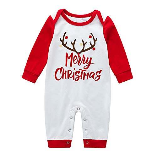 E-House Kerstmis levert Vrolijk Kerstmis rendier baby unisex lange mouwen knop rompler - 12-18M 3-6 m.