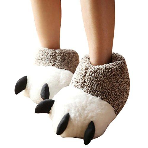 ZUMUii Butterme Unisex Polar Bear Paw Slippers Botas de Felpa de Invierno Cálido Inicio Zapatillas Furry Animal Paw House Zapatillas(Beige,M)