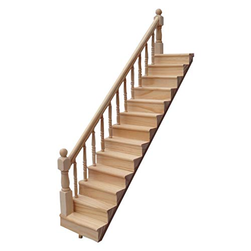 Mini Vintage Wooden Stairway Miniature Life Play Scene Model for 1 12 Dollhouse Accessories and Furniture,Binory Handrail Stair for Living Room Decor,Kids Adults Pretend Toy DIY Your Own Doll House(B)