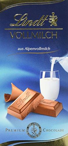 Lindt Vollmilch Tafel 100g, der Tafelklassiker aus zartschmelzender Alpenvollmilch-Schokolade, wiederverschließbare Verpackung, glutenfrei (1 x 100 g)