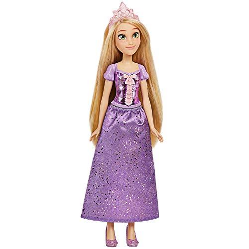 Disney Prinzessin Schimmerglanz Rapunzel Puppe, Modepuppe mit Rock und Accessoires, Spielzeug für Kinder ab 3 Jahren