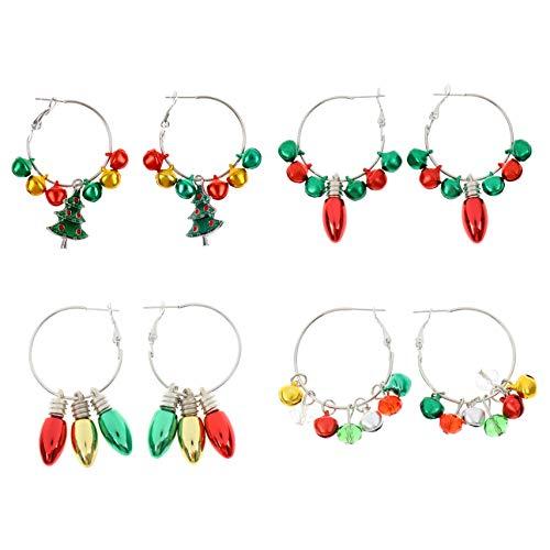 4 Pairs Christmas Earrings Jewelry Set Gift Earrings Dangle Drop Earrings Ear Hook Women Cute Atmosphere Earrings Xmas Jewelry