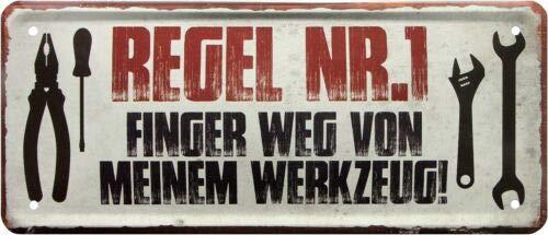 Finger Weg von Meinem Werkzeug Werkstatt Garage 28x12 Deko Blechschild 2005