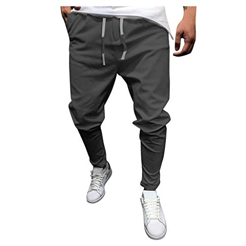 Pantaloni Uomo Lunghi Cargo con Tasche Laterali Tattici Pantalone da Lavoro Pantaloni a Matita Sciolto Casuale All'aperto Tinta Unita (XL,Grigio Scuro)