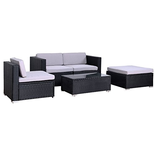 SVITA California Poly-Rattan Lounge Gartenset Sofa-Set Garnitur Gartenmöbel Couch-Set - 2