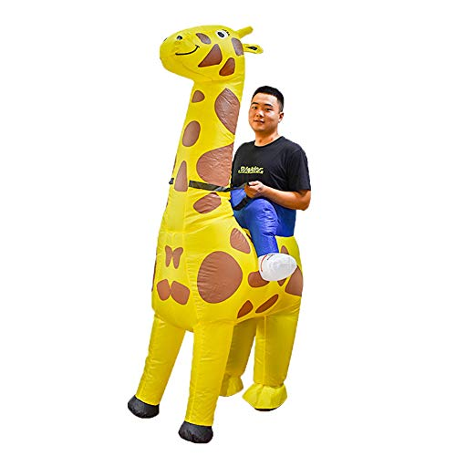 GAOFANG Inflatable Cute Cartoon Giraffe Fancy Dress Christmas, Halloween and Cosplay and Other Activities Costume (Adults and Teenagers: 160-190cm),Yellow,160 to 190cm