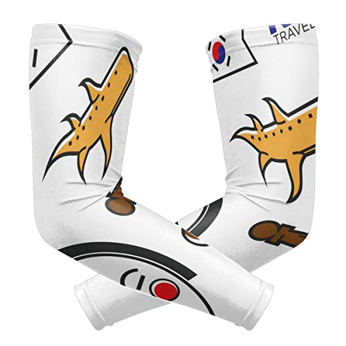 CaMoloMaC UV Protection Cooling Arm Sleeves for Men Women Kids Long Tattoo Arm Cover Korean Flag Culture Travel Sun Protection Sunblock Cooler Outdoor Protective Gloves Sunscreen 1 Pair