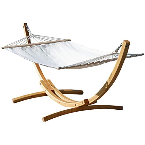 AS-S 320cm XL Deluxe wooden hammock stand larch with hammock from, Color BLANCA