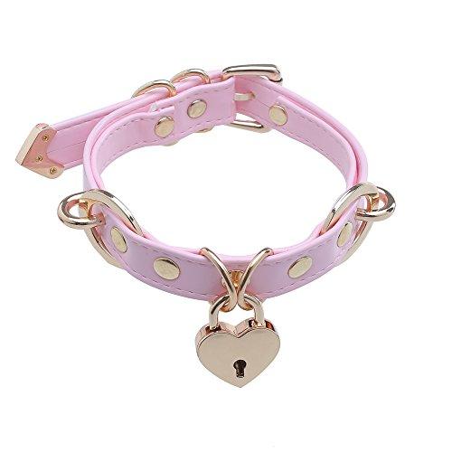 Gargantilla de mujer Harajuku Collar con medallón de corazón Gargantilla de cuero rosa