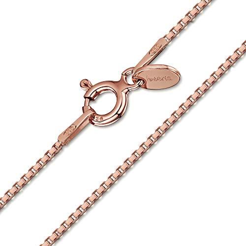 Amberta Männer und Frauen Halskette Kette aus 925 Sterlingsilber 14K Roségold: 1 mm Venezianierkette - 60 cm