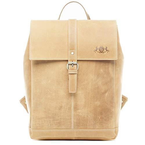 SID & VAIN Rucksack | Vintage-Look | echt Leder SAM groß Kurierrucksack Fahrradrucksack Backpack Tagesrucksack Lederrucksack Unisex beige