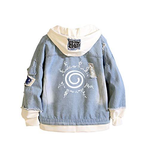 Cosstars Naruto Anime Hoodie Jeansjacke Unisex Cosplay Denim Jacket Outwear Mäntel Blau 1 M