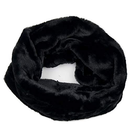 Scaldacollo pelliccia ecologica nera sintetica da donna ragazza collo ad anello chiuso sciarpa di ecopelliccia fascia calda morbida casual elegante viaggio autunno inverno 2021 2022 invernale Nero
