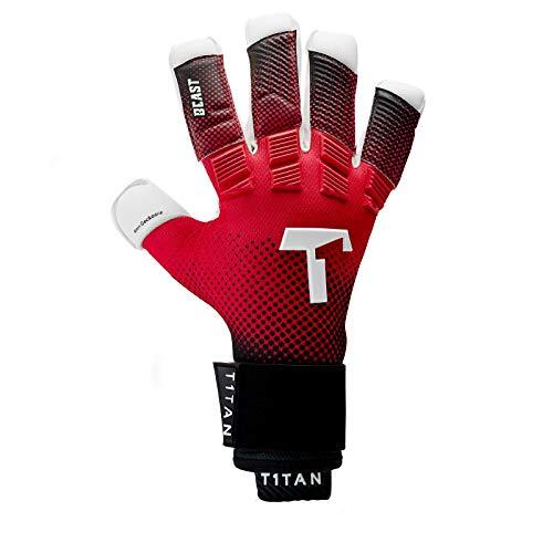 T1TAN Red Beast Torwarthandschuhe für Erwachsene, Fußballhandschuhe Herren Innennaht und 4mm Profi Grip - Gr. 12 - 3