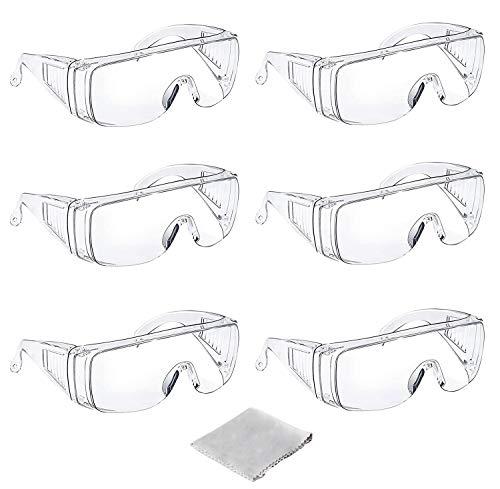 Tavool ゴーグル 保護メガネ 曇り止め 透明 軽量 防曇 保護 安全ゴーグル 花粉めがね 防塵ゴーグル メガネ 眼鏡着用可 クリーニングクロス付き 6個セット